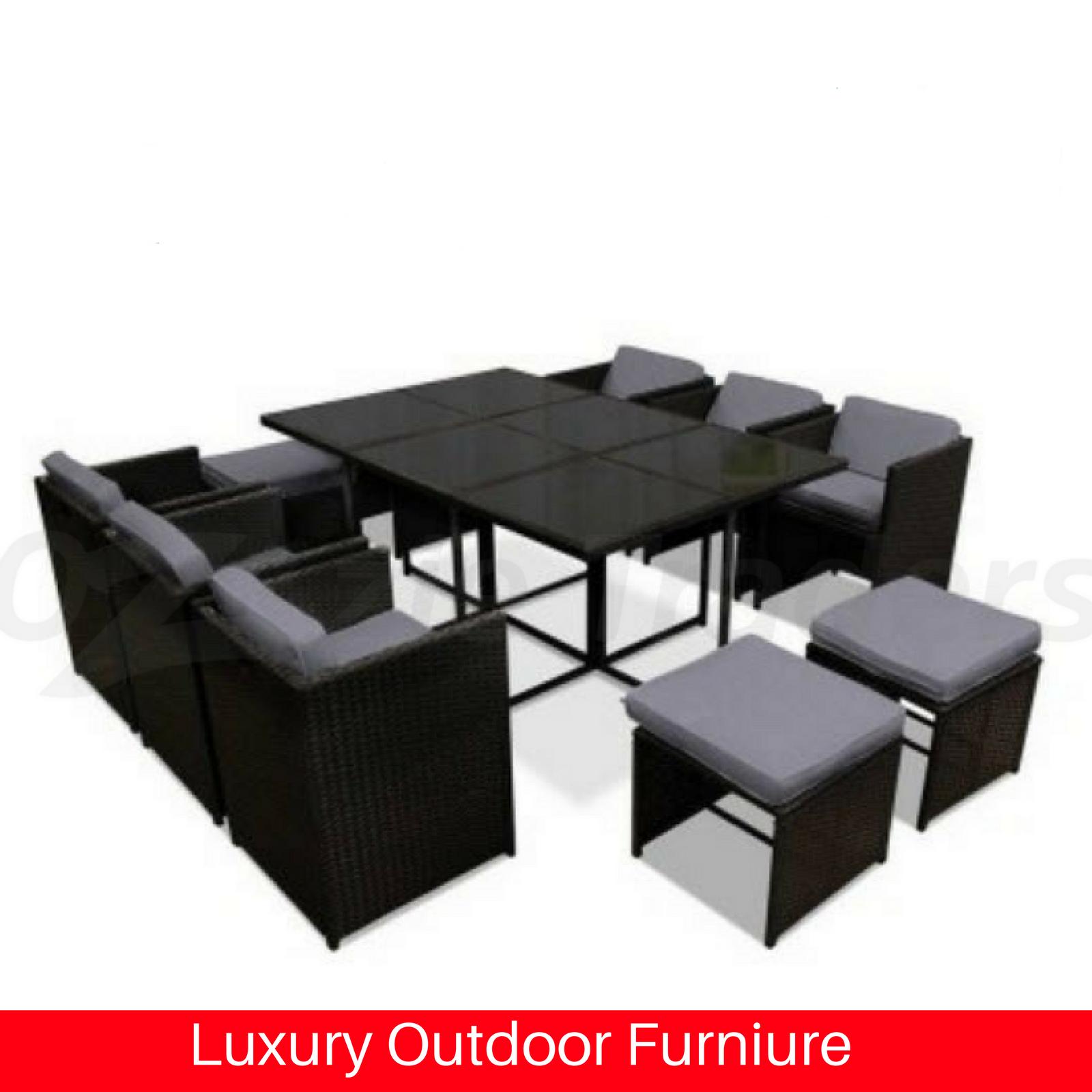 Outdoor dining furniture wicker luxury patio setting for Luxury outdoor furniture